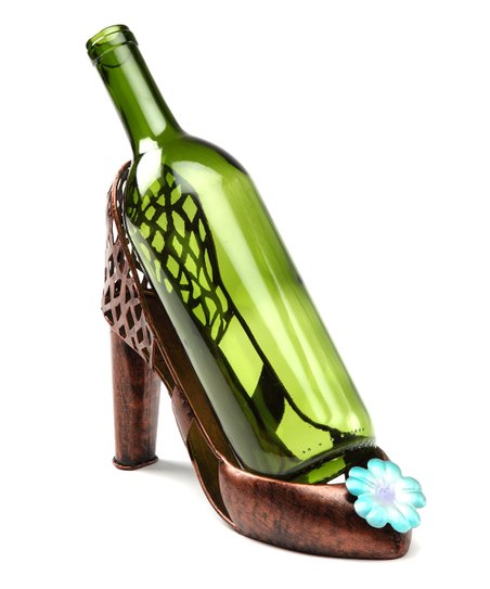 Blue Flower High Heel Wine Holder