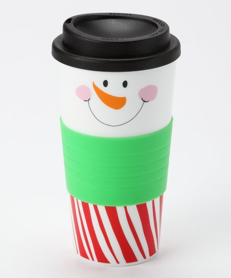 Red & White Stripe Snowman Face Tumbler