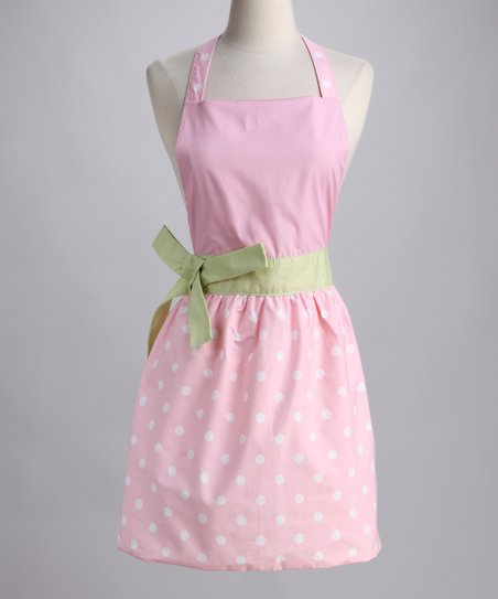 Design Imports Candy Pink Polka Dot Apron - Adult