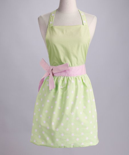 Design Imports Fresh Green Polka Dot Apron - Adult