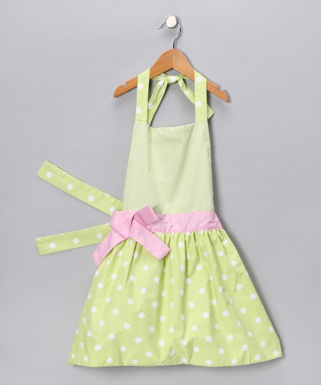 Fresh Green Polka Dot Apron - Girls
