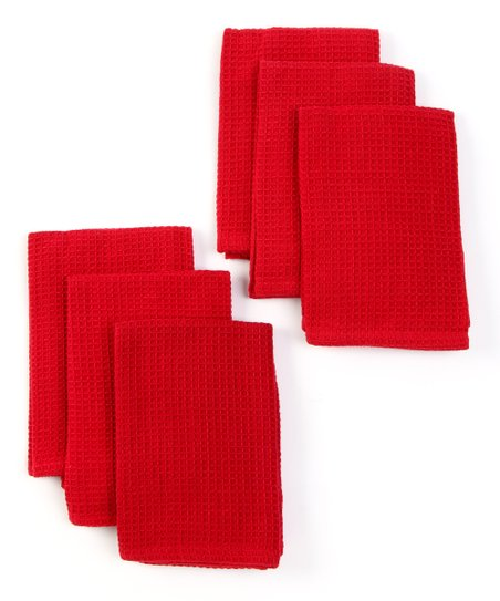 Design Imports Red Waffle Dishcloth - Set of Six