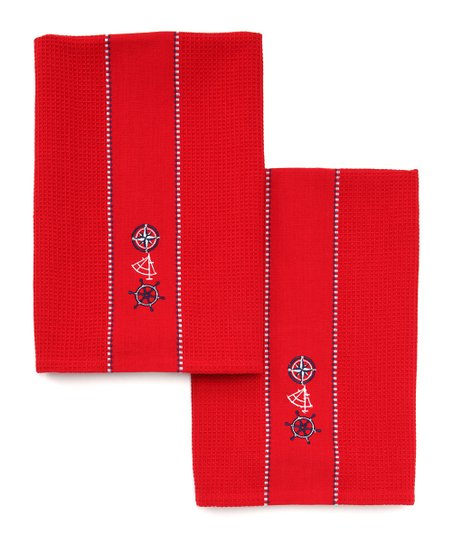 Nautical Embroidered Dish Towel - Set of Two