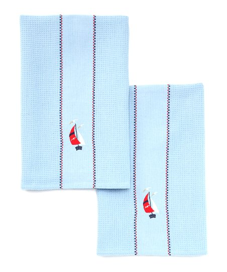 Sailboat Embroidered Dish Towel - Set of Two
