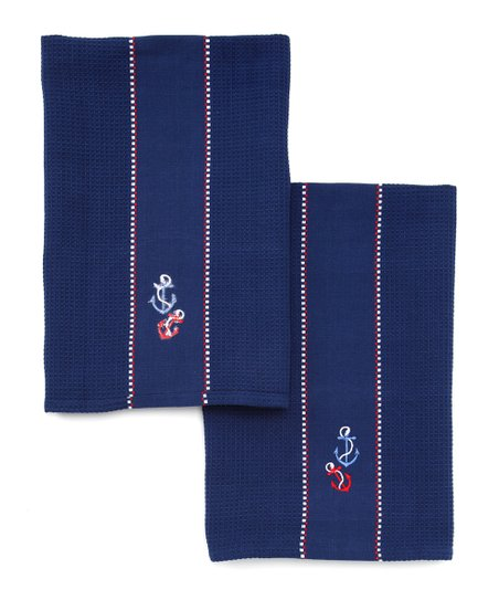Anchor Embroidered Dish Towel - Set of Two