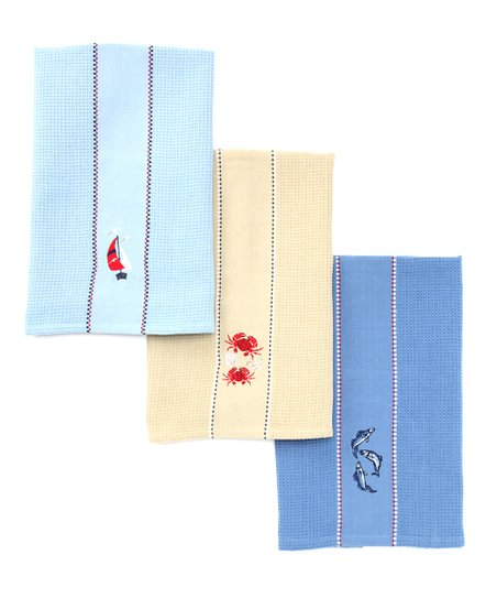 Sailboat & Sea Life Embroidered Dish Towel Set