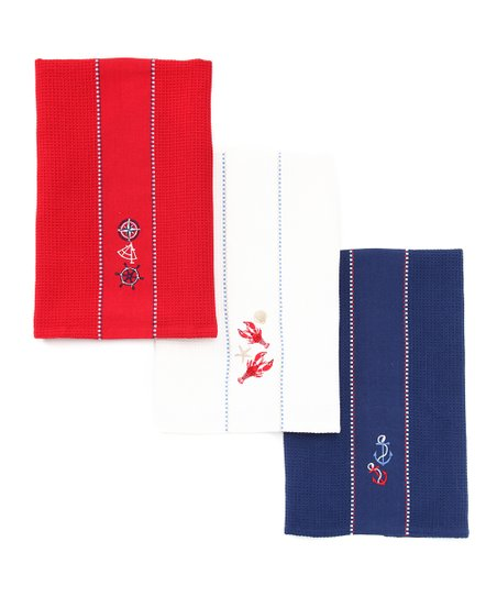 Nautical Embroidered Dish Towel Set