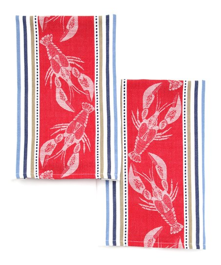 Lobster Jacquard Dish Towel - Set of Two