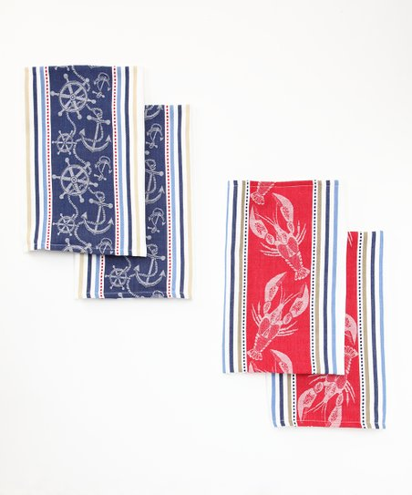 Anchor & Lobster Jacquard Dish Towel Set