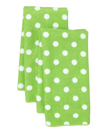 Lime Polka Dot Microfiber Dish Towel - Set of Two