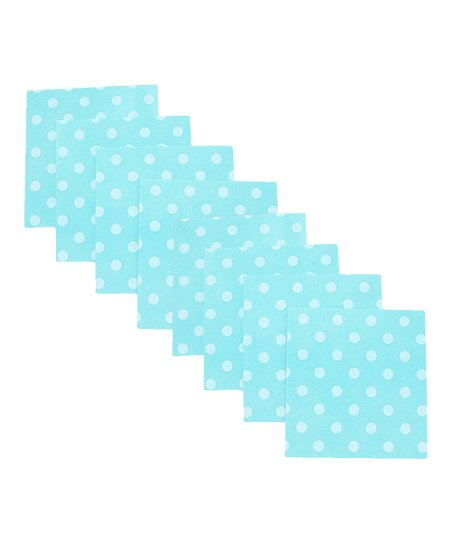 Aqua Polka Dot Clean Cloth - Set of Eight