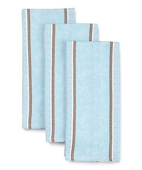 Crystal Blue Jacquard Dish Towel - Set of Three