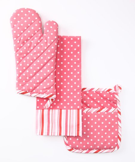 Pink Polka Dot & Stripe Pot Holder Set