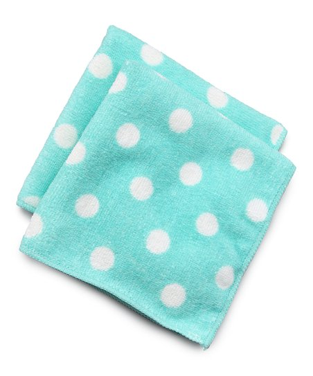 Design Imports Aqua Polka Dot Microfiber Dishcloth - Set of Two