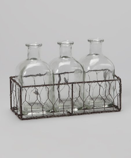 Wire Basket & 5.5'' Bottle Trio Set