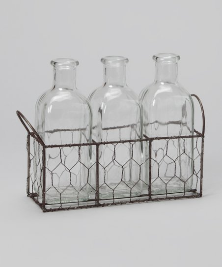 Rectangular Wire Basket & Bottle Set