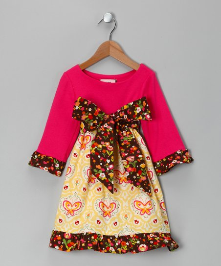Fuchsia & Yellow Ruffle Dress - Toddler & Girls