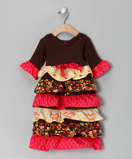 Yellow & Brown Ruffle Dress - Infant