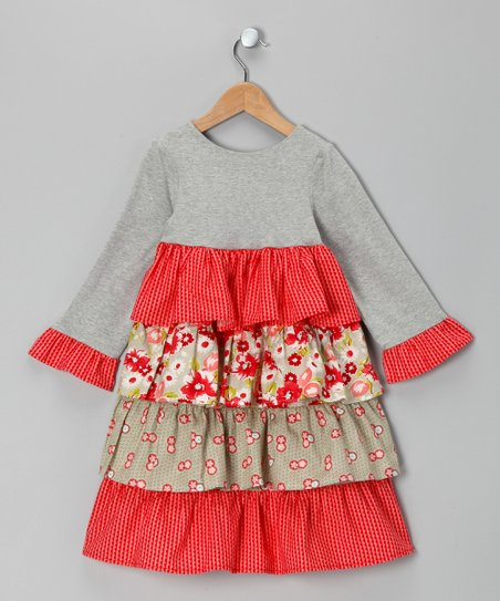 Red & Gray Floral Tiered Dress - Toddler & Girls