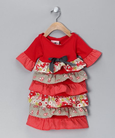 Red & Gray Ruffle Dress - Infant