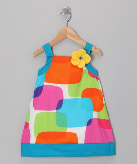Blue & Orange Shape Dress - Girls