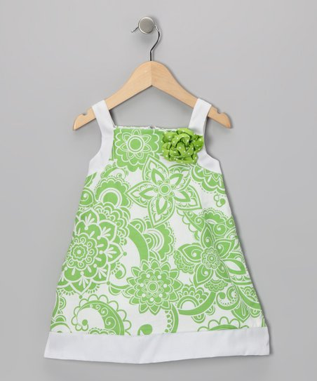 Di Vani Green Floral Dress - Girls