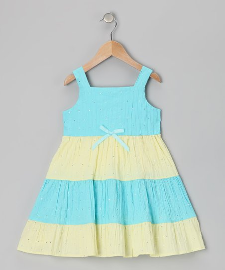 Di Vani Yellow & Blue Stripe Sequin Dress - Girls