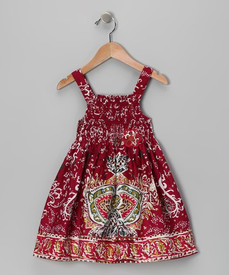 Burgundy Floral Dress - Infant