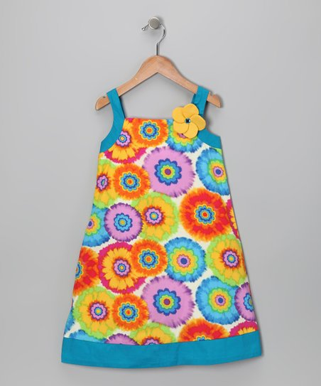 Di Vani Blue &amp; Orange Floral Dress