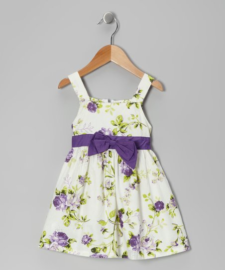 Di Vani White & Purple Floral Bow Dress - Toddler & Girls