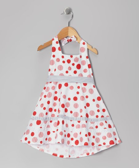 Di Vani White & Red Polka Dot Dress
