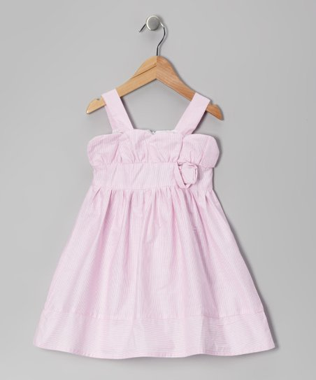 Light Pink Stripe Rosette Dress - Toddler & Girls