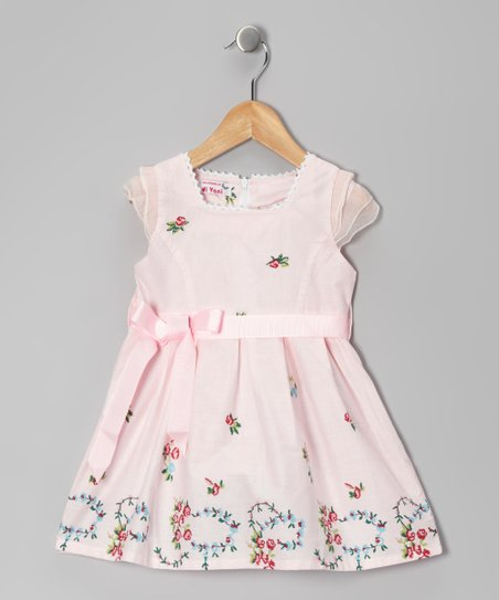 Pink Floral Wreath Dress - Girls