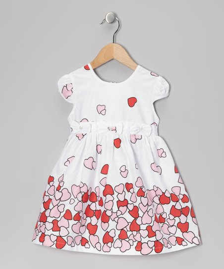Di Vani White & Pink Heart Dress - Toddler & Girls