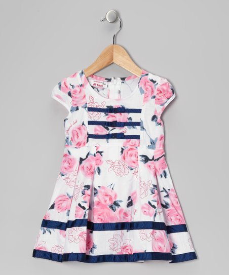 Pink Rose Stripe Dress - Toddler & Girls