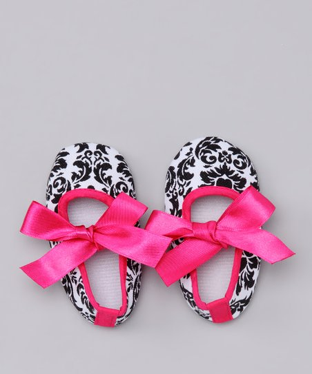 Black & White Damask Bow Flats