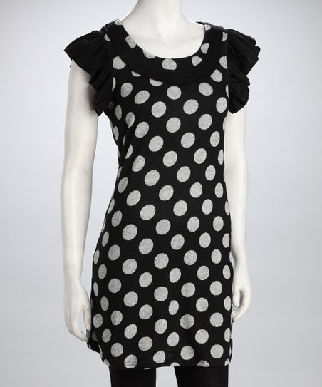 Black & White Polka Dot Angel-Sleeve Dress