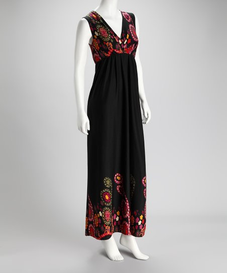 Black & Red Maxi Dress - Women