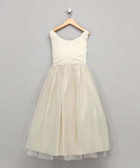 Ivory Organza Beaded Dress - Girls