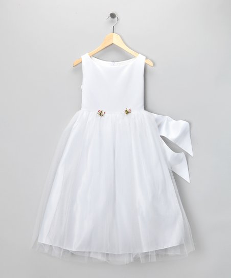 Dimples White Organza Rosette Dress - Girls