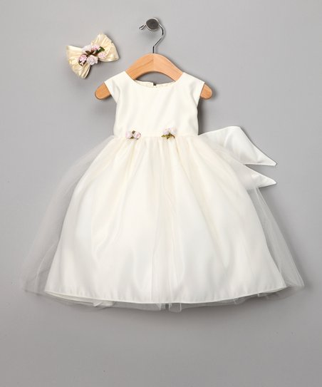 Ivory Rosette Organza Satin Dress Set - Girls