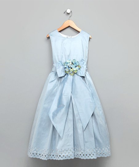 Dimples Blue Trellis Silk Dress - Girls