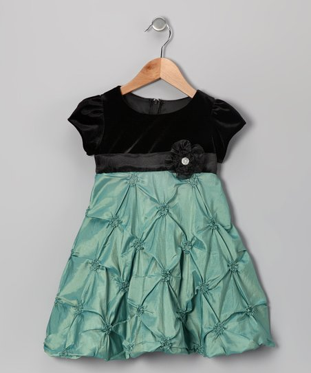 Dimples Green Velvet Taffeta Dress - Infant & Toddler