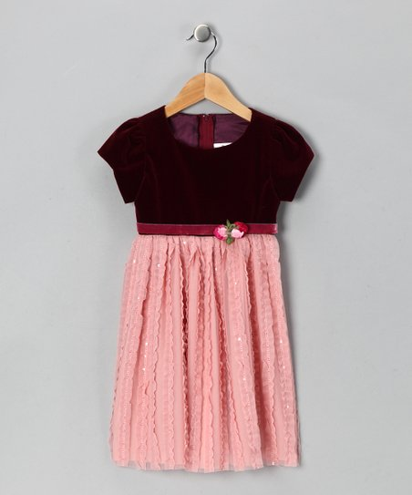 Dimples Burgundy Velvet Rosette Dress - Infant & Toddler
