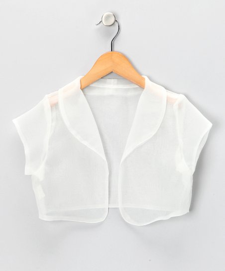 Ivory Sheer Organza Shrug - Girls