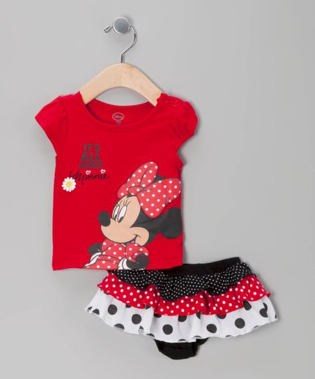 Red Minnie Tee & Diaper Cover - Infant