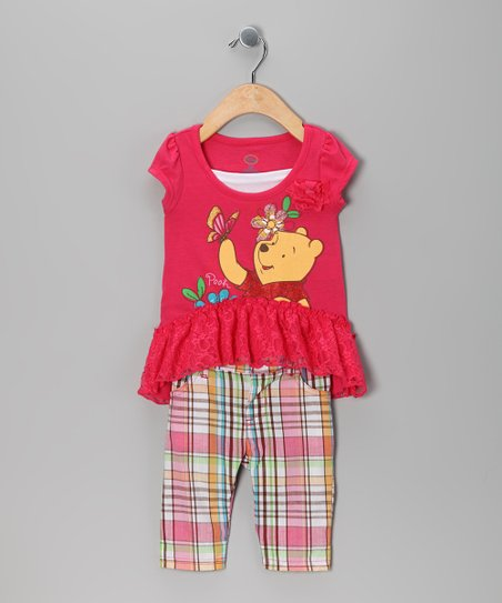 Coral Pooh Ruffle Tunic & Plaid Pants - Infant