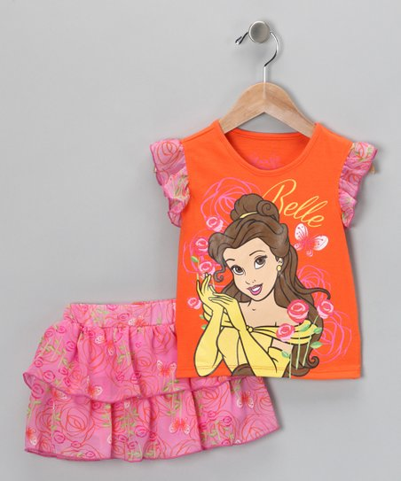 Orange Belle Top & Ruffle Skort - Toddler