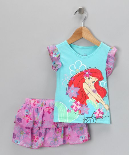 Blue 'Ariel' Top & Ruffle Skort - Infant & Toddler
