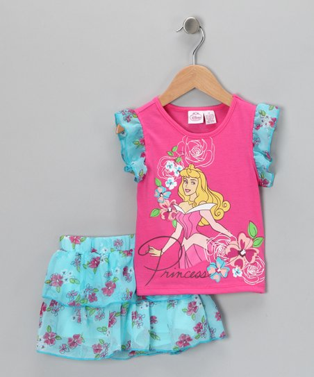 Hot Pink & Aqua Aurora Top & Ruffle Skort - Toddler